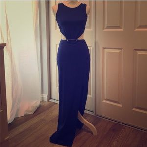 Charlotte Ruse Royal Blue Zip Back Long Gown